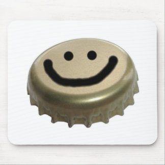 Beer Bottle Cap Smiley Face Mousepads