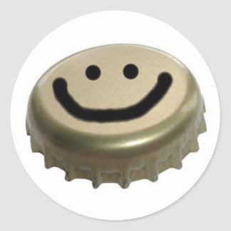 Beer Bottle Cap Smiley Face Round Sticker