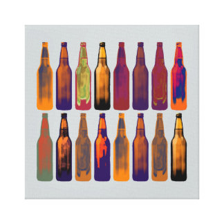 beer bottles in colors gallery wrap canvas