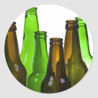 beer bottles round sticker