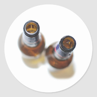 Beer Bottles Round Stickers