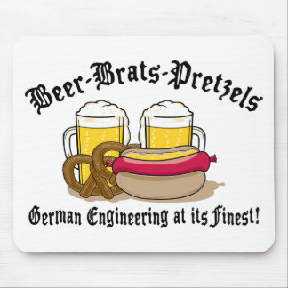 Beer Brats Pretzels German Mouse Mat