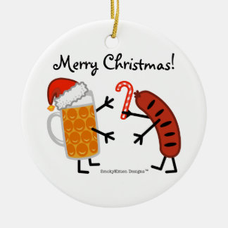 Beer & Bratwurst - Merry Christmas! (customizable) Christmas Ornament