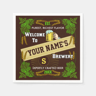 Beer Brewery Personalized Name | Hops Barley Bar Paper Napkins