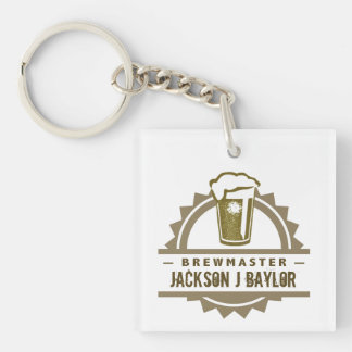 Beer Brewmaster Single-Sided Square Acrylic Key Ring
