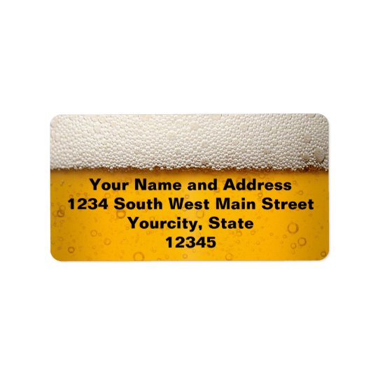 Beer Bubbles Close-Up Address Label