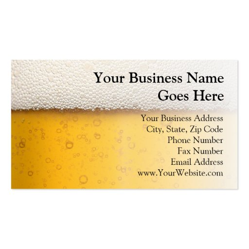 Beer bubbles close up zazzle for Ups business cards templates