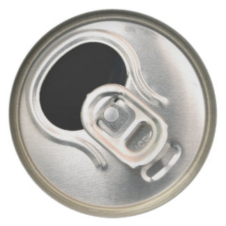 beer can top open drink metal container plate