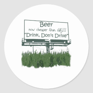 Beer - Cheaper Than Gas Stickers