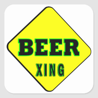 Beer Crossing Square Sticker