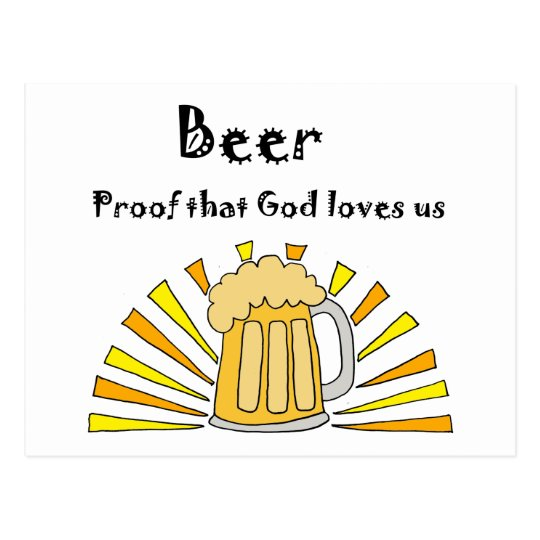 Beer Drinker's Cartoon with Mug and Sun Postcard