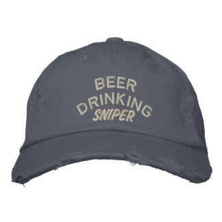 Beer Drinking Sniper Funny Embroidered Hats