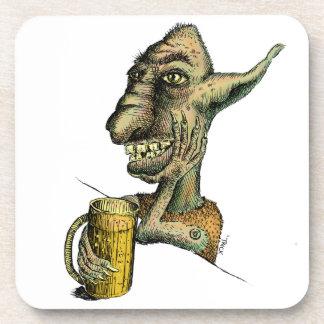 Beer Drinking Troll Beverage Coaster