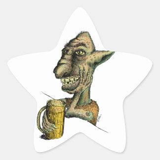 Beer Drinking Troll Star Sticker