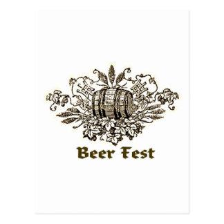 BEER FEST VINTAGE ALE KEG PRINT POST CARD