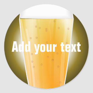 Beer Glass Background for Custom Text Round Sticker