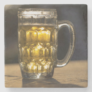 Beer glass beverage close up, India Stone Coaster