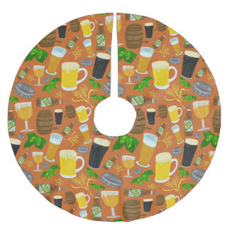 Beer Glass Bottle Hops and Barley Pattern Brushed Polyester Tree Skirt