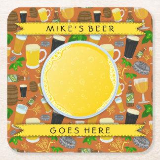Beer Glass Bottle Hops and Barley Pattern Custom Square Paper Coaster