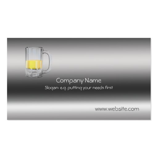 Beer Glass on metallic-look template Business Card Template