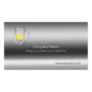 Beer Glass on metallic-look template Pack Of Standard Business Cards