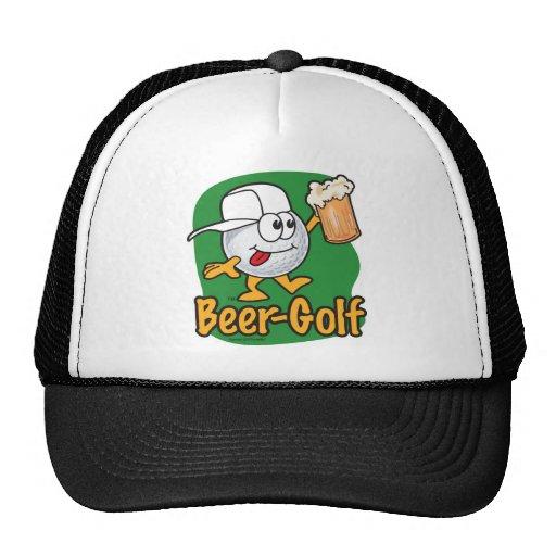 Beer Golf Drunk Cartoon Golf Ball Mesh Hat