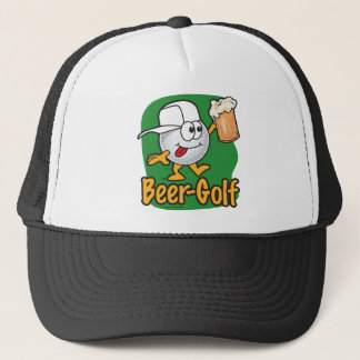 Beer Golf Drunk Cartoon Golf Ball Trucker Hat
