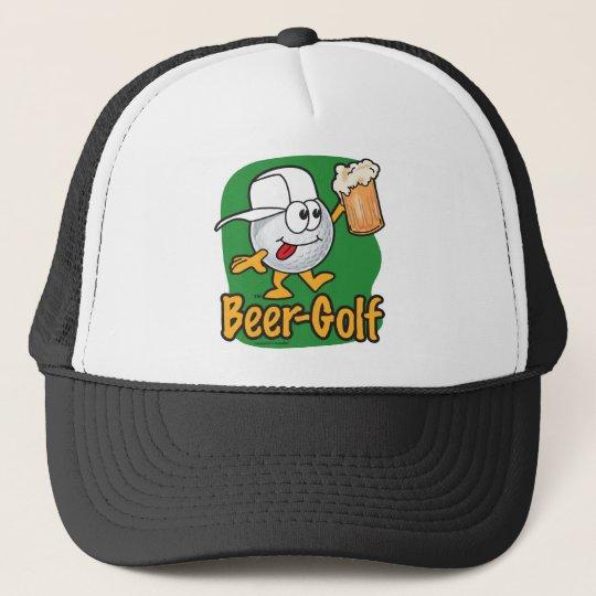Beer Golf Drunk Cartoon Golf Ball Trucker Hat