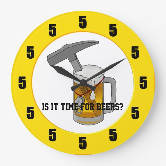 Beer Hammer Geology Clock- All Fives! Large Clock