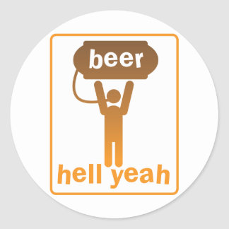 beer hell yeah! round stickers