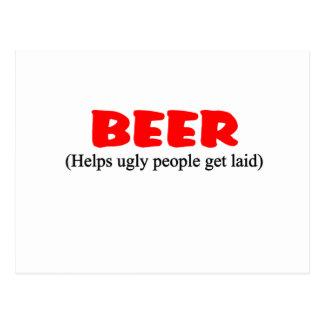 beer helps ugly people postcards