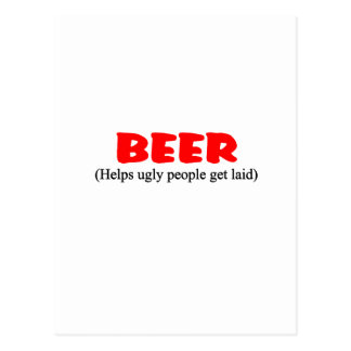 beer helps ugly people postcard