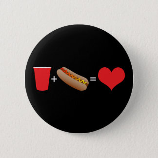 beer + hot dogs = love 6 cm round badge