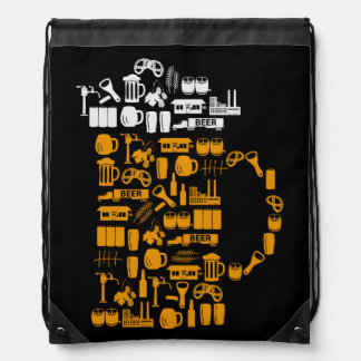 Beer Icons Drawstring Bag