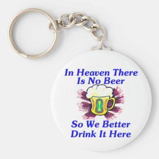 Beer in Heaven Basic Round Button Key Ring