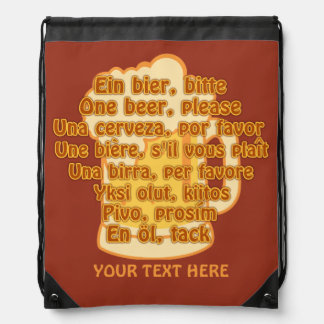 BEER in languages custom bag