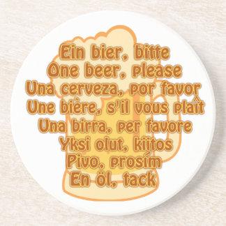 BEER in languages custom coaster