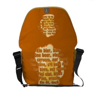 BEER in languages custom messenger bag