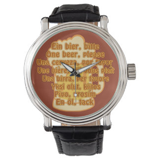 BEER in languages custom watches