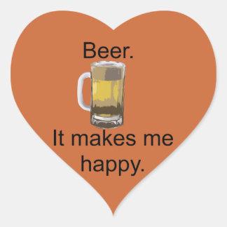 Beer. It Makes Me Happy. Heart Sticker