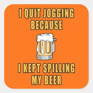Beer Jogging Square Sticker
