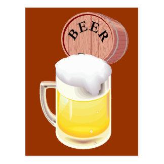 Beer keg and beer stein post card