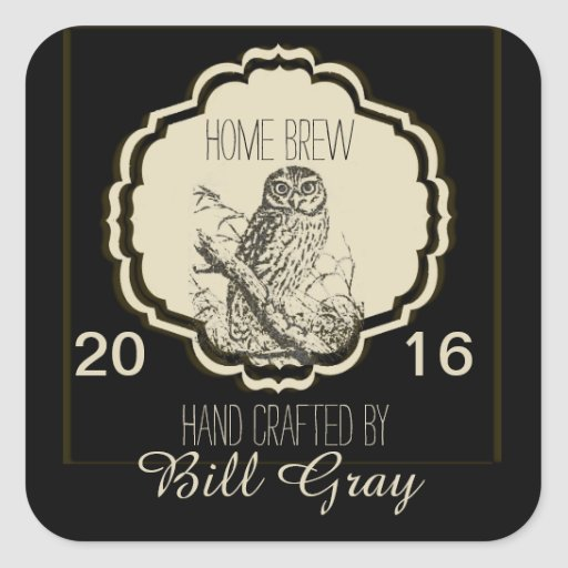 Beer Label Fully Customizable with Owl Square Stickers