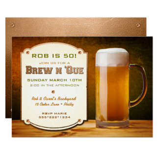 Beer Leather Rivets Brew N 'Que 13 Cm X 18 Cm Invitation Card