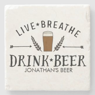 Beer Love Hipster Live Breathe Drink Beer Custom Stone Coaster