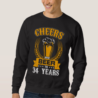 Beer Lover Birthday Gift For 34 Years Old. Sweatshirt