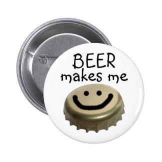 Beer Makes me HAPPY! 6 Cm Round Badge