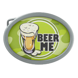 Beer Me bright green camo camouflage Oval Belt Buckles