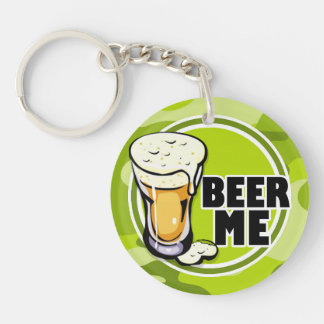 Beer Me bright green camo camouflage Acrylic Key Chains