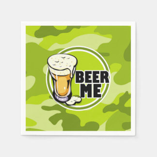 Beer Me!  bright green camo, camouflage Disposable Napkins